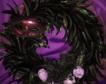 Halloween Black Feathers Wreath