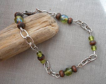 B.22 - Bracelet curb chain - silver - natural wood