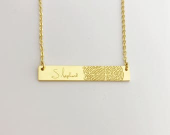 NEW OPEN 20% OFF:Fingerprint necklace without Black Lines/Bar necklace/Dainty necklace/Handwriting necklace-Sterling silver with gold plated