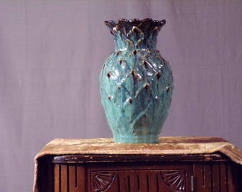 Vintage Mid Century 1960s Ceramic Vase. Teal and Gold