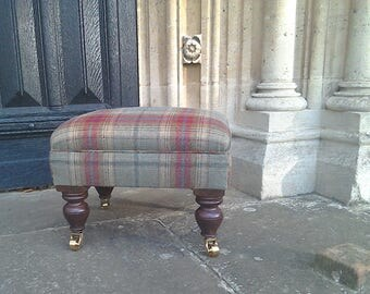 Footstool - Designer footstool upholstered here in Balmoral fabric