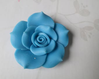 x 1 large 40 mm polymer clay turquoise flower bead