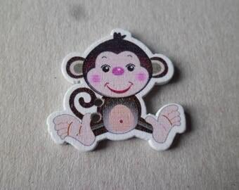 x 5 wood pattern buttons monkey 2 hole 30 x 30 mm