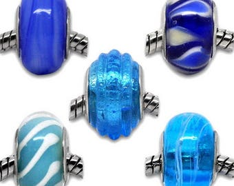 x 5 mixed European silver tone blue patterned 13 x 9 / 15 x 10 mm