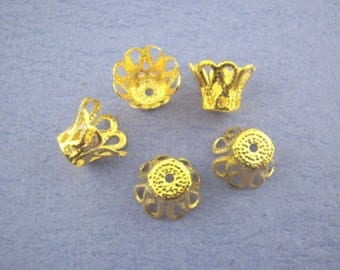 """x 20 pearls flower filigree carved gold metal 7 x 9 mm """"for Pearl 12-14 mm"""""""