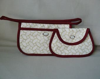 light green embroidered beige fabric make-up pouch Burgundy bias and matching wallet