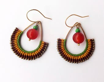 macrame beaded earrings, glass seed beads, Carnelian beads, brass drop