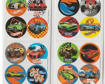"80 Hot Wheels Cars Mini Stickers, 1.2"" Round Each"