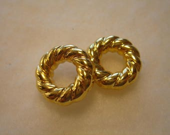 Vintage beads rings braided CCB gold set of 2 16 mm