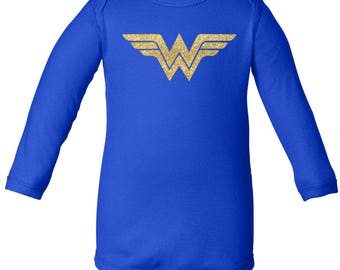 Wonder Woman Onesie, Kids Wonder Woman Costume, Wonder Woman and Glitter, Custom Onesie, Baby Gift, Baby Shower Gift, Wonder Woman, Baby