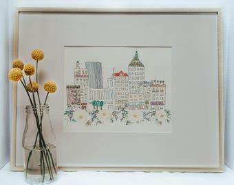 Custom City Skyline Watercolor