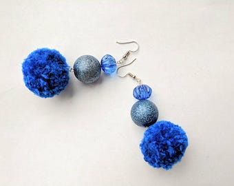 Royal blue Handmade Pom Pom Earrings Pom-Pom glittery beaded shiny Lightweight Women Statement Jewelry Gift for her Long Cotton balls Boho