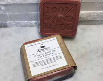 Activated Charcoal and Rose Clay Face and Body Bar