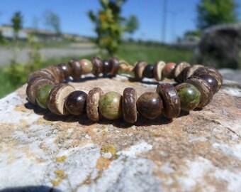 Bronzite beaded bracelet, unakite/epidote and slices of coconut