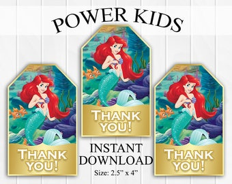 INSTANT DOWNLOAD The Little Mermaid, Ariel Thank You Tags, Favor Tags, Party Favors, Printable DIY