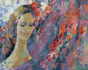 Original Large Oil Painting,Portrait  Oil Painting, Woman Portrait,  Impressionist Cubist oil Painting by Galina Kononova