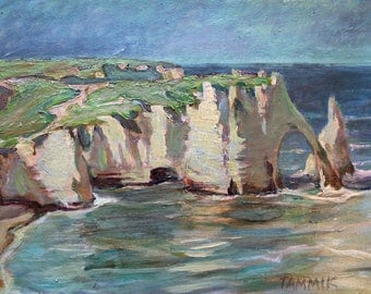 Original Oil Painting Seascape , Clift of Etretat, Landscape Oil Painting, Impressionist Oil Painting by Rein Tammik