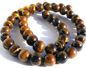 8 oeil de tigres de 8 mm perles pierre marron doré irisé.