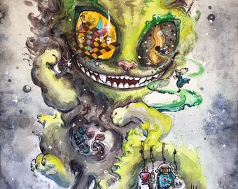 Original watercolor artwork Cheshire cat, Lewis Carroll decor, Surreal, Wonderland art, unsual fancy fairytail artwork