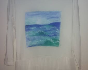 "hand painted shirt ""Seaview"""