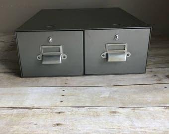 2 drawer card file industrial grey card catalog card catalog