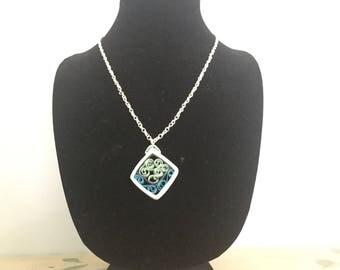 Blue Quilled Diamond Pendant