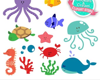 Sea Animal Clipart, Under the Sea, Clipart, Fish, starfish, crab, octopus, beach, summer, commercial use, vector clipart,