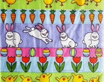 TOWEL in paper bunnies and chicks Easter #DI044