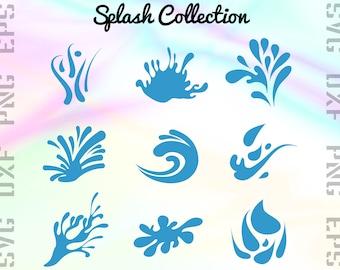Splash SVG Files - Water Splash Clipart - Splash Cricut Files - Splash Dxf Files - Splash Cut Files - Splash Png - Svg, Dxf, Png, Eps