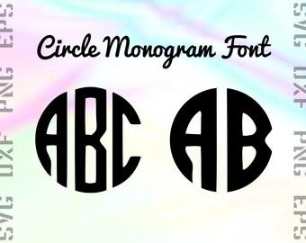 Circle Monogram SVG Font Bundle - Monogram Font SVG - Monogram Font DXF - Circle Font Svg - Monogram Font Cricut  Png - Monogram Cut Files