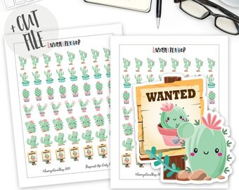 Printable Cactus Succulents Stickers, Cactus Stickers, Succulents Stickers, Kawaii Stickers, Planner Stickers, Bullet Journal Stickers, Bujo