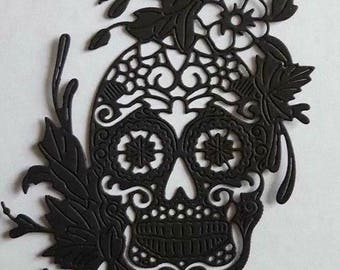 Tattered lace floral skull die cuts x 4