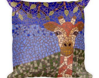 Giraffe mosaic square accent pillow for unique home or nursery decor