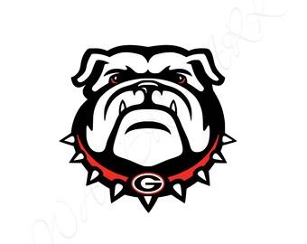 Georgia Bulldogs SVG and Studio 3 Cut File Stencil Decal Files Bull Dog Logo for Silhouette Cricut Football SVGS Cutouts Decals Logos