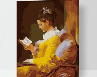 Jean-Honoré Fragonard A Young Girl Reading Paint by number kit, The Reader, La Liseuse, DIY painting, Easy Painting, Digital oil painting