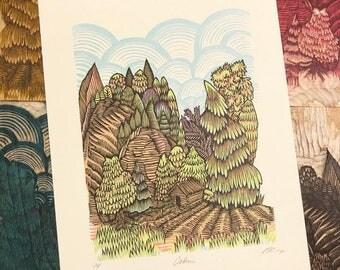 CABIN Woodcut Print