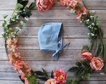 Bonnets - baby bonnets - blue polka newborn bonnet - toddler bonnets - pilot hat - newborn hats - floral bonnet - bonnets for girls
