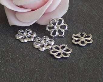 x 20 small connectors flowers in antique silver 12 x 13 mm COA222
