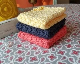 Crochet Dishcloths Set - Cotton Dishcloth - Vintage Crochet Dishcloth- Housewarming Gifts- Farmhouse kitchen Decor- Kitchen Dishcloth set -
