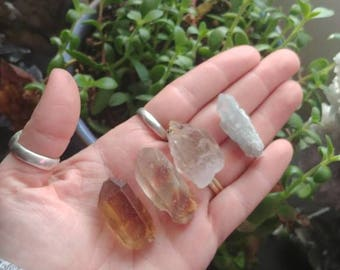 Power set of natural points / Blue Tara, Amphobile, Zambian citrine, and rutilated Quartz / Brazilian Crystal Lemurian points