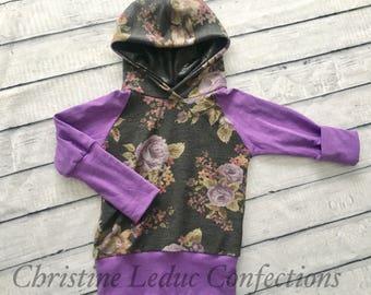 Chandail capuchon, hoodie évolutif fleuri