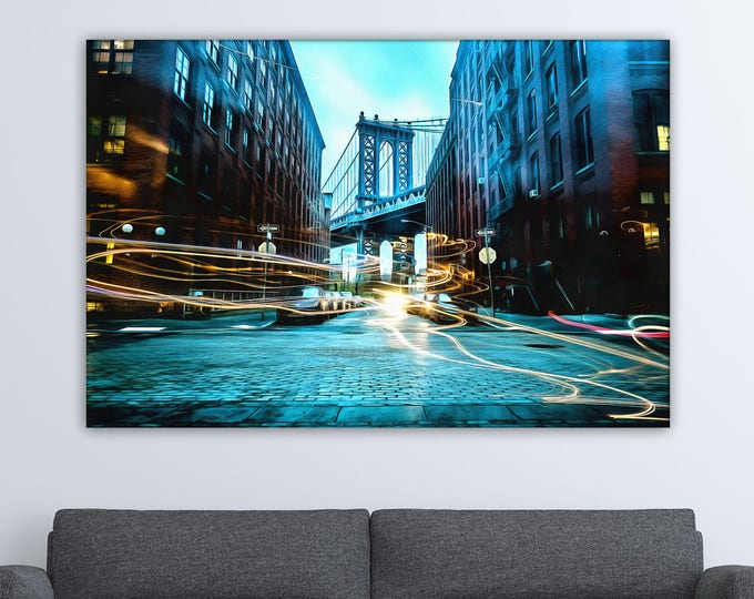 City street New York, Light painting, New York bridge USA Poster, canvas, Interior decor, print poster, USA picture, art picture, gift