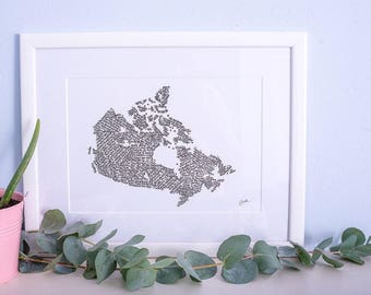Calligraphy map of Canada