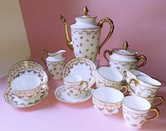 Antique Porcelain Limoges Service, Ten Person Service Set, Pink Rose Decor, France