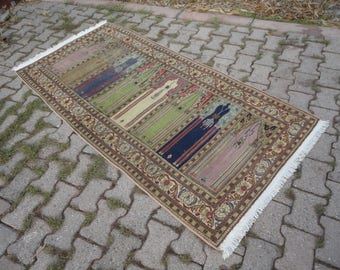 Turkish vintage rug,FREE SHIPPING !Oushak rug,Area rug,boho rug,Prayer rug ,vintage Turkish rug,hand woven rug,muted color rug,83'' x 40''