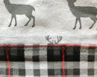 White Deer and Plaid Flannel Pillow Case
