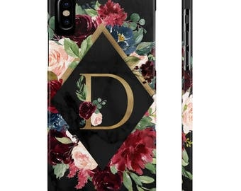 Floral Black Marble Phone Case, Floral Phone Case, Black Marble Phone Case, iPhone 7, Iphone 8, Samsung Galaxy s8, Samsung Galaxy s7, iPhone