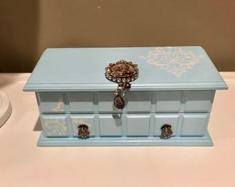 Vintage Jewelry Box, Baby Blue, Upcycled  pastel jewelry box