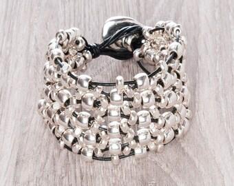 boho bracelet, womens leather bracelet, uno 50 de style, bracelet for women, beaded bracelet, boho jewelry, boho chic style