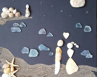 Couple in love, Cornish Pebble and Sea Glass Art Picture, moonlit walk upon the Beach